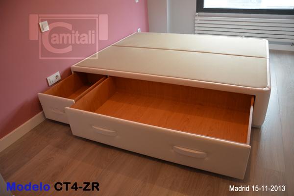 Cama con cajones laterales ct4 zr for Canape para cama 150