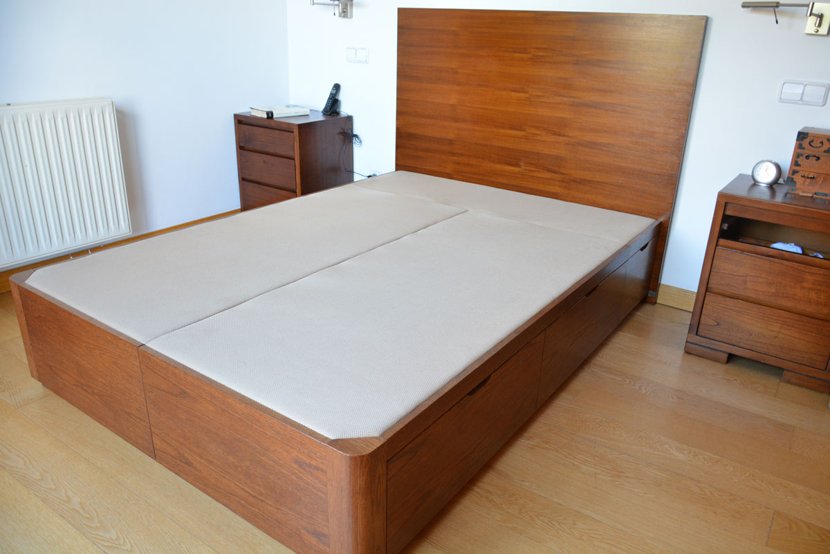 Canap de madera con cajones laterales - Cajones bajo cama ...